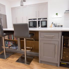 Painted Breakfast bar and kitchen cupboards